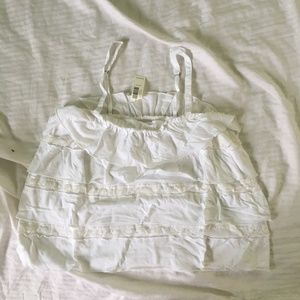 NWT Gilly Hicks White Ruffle Tank Top